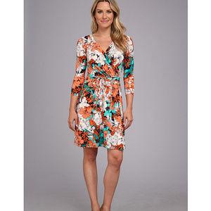 Anne Klein floral print faux wrap dress small OMG!
